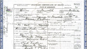 Death Certificate From the Center from the Civil Rights and Restorative Justice Project's Archives
